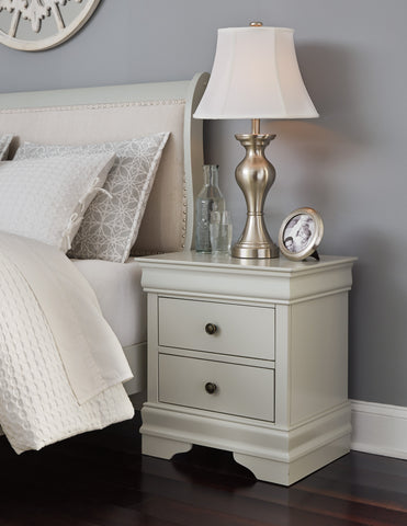 Ararat Louis Phillippe Style Nightstand in Light Gray