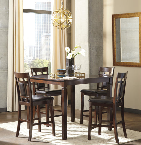 5 PC Barnnox Casual Brown Color Counter Table Set, Table And 4 Chairs
