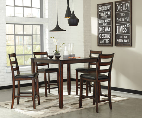 5 PC Chrovia Casual Brown Color Counter Table Set, Table And 4 Chairs