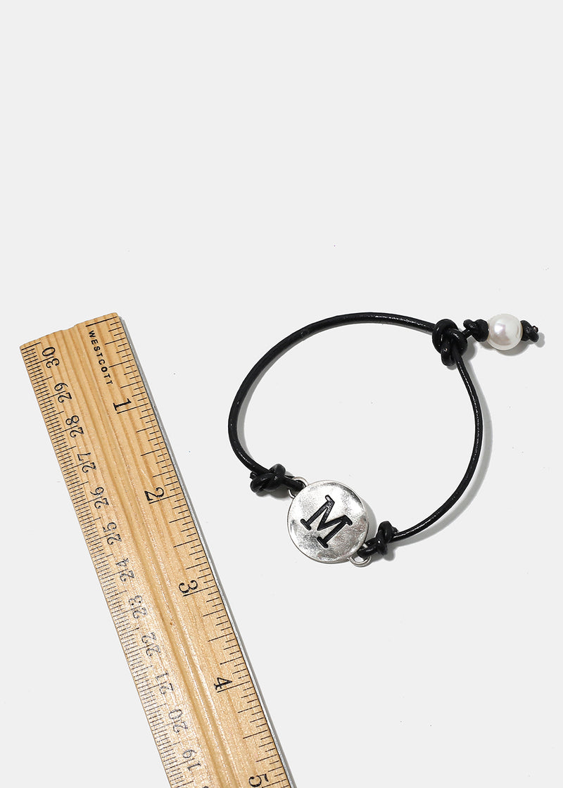 "Faux Leather ""M"" Initial Bracelet"