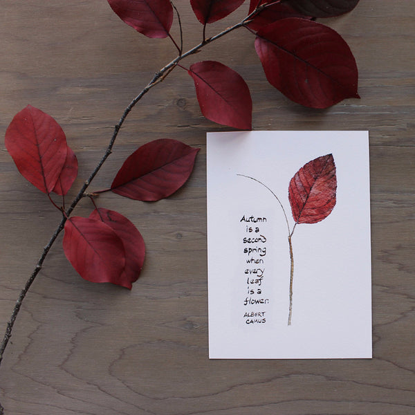 Autumn leaf watercolor with Camus quote by Kathleen Maunder