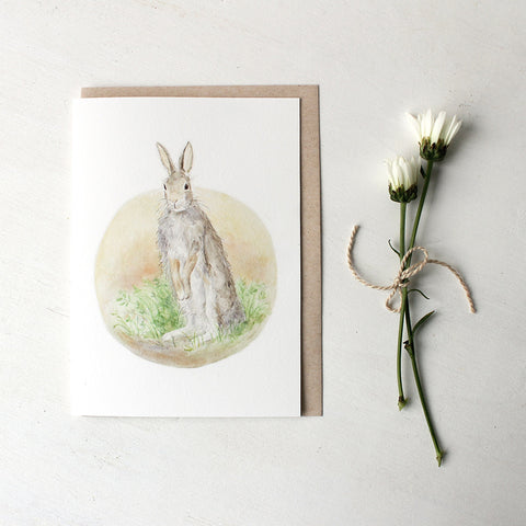 Watercolor card featuring rabbit painting by Kathleen Maunder