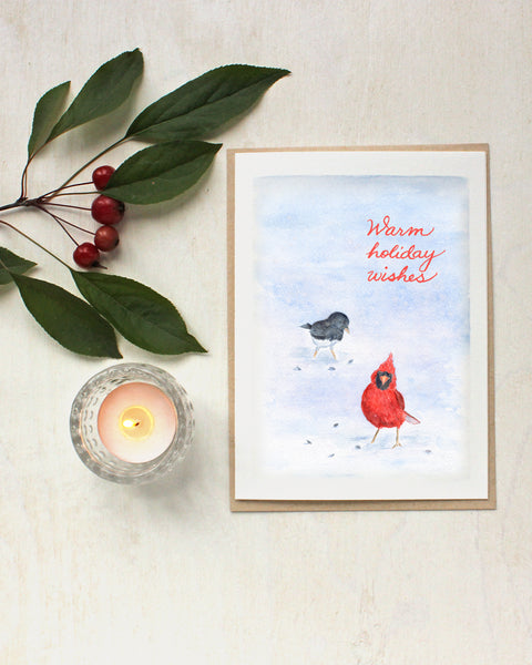 Cardinal and Junco Watercolor Bird Holiday Cards - Artist Kathleen Maunder