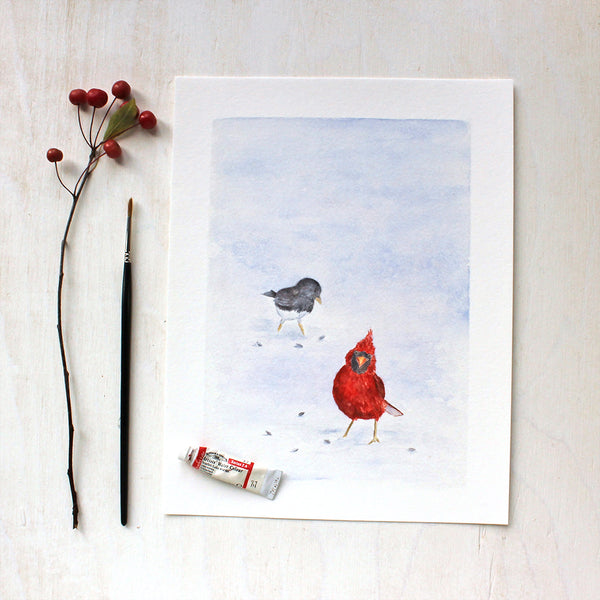 Cardinal and Junco - Bird Art Print by Watercolor Artist Kathleen Maunder