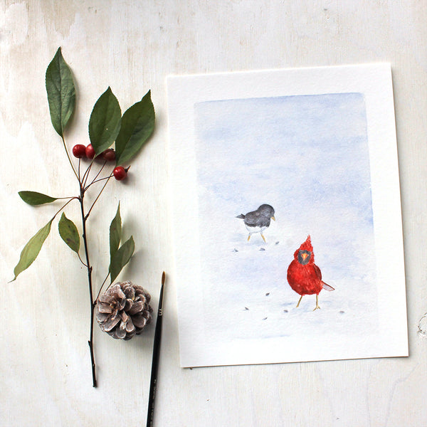 Cardinal and Junco - Winter Bird Art Print by Watercolour Artist Kathleen Maunder