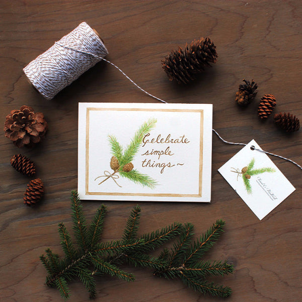 Celebrate Simple Things Holiday Card Set by watercolor artist Kathleen Maunder, trowelandpaintbrush