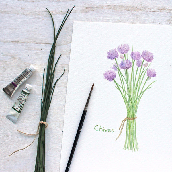 Chives print of a watercolour by Kathleen Maunder, Trowel and Paintbrush