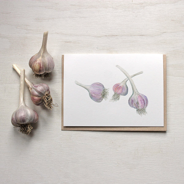 Purple stripe garlic bulbs - note cards based on watercolour by Kathleen Maunder