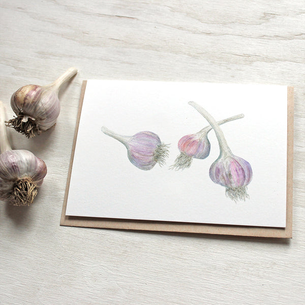 Garlic greeting cards by watercolor artist Kathleen Maunder
