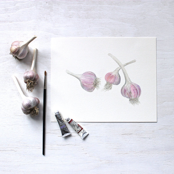 Three bulbs of purple stripe garlic - Watercolour by Kathleen Maunder of Trowel and Paintbrush