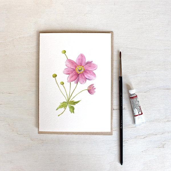 Note card featuring a pink Japanese anemone flower in watercolor. Artist Kathleen Maunder.