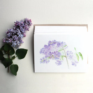 Lilac watercolor note cards by Kathleen Maunder of Trowel and Paintbrush