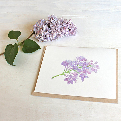 Lilac sprig note card featuring watercolor by Kathleen Maunder