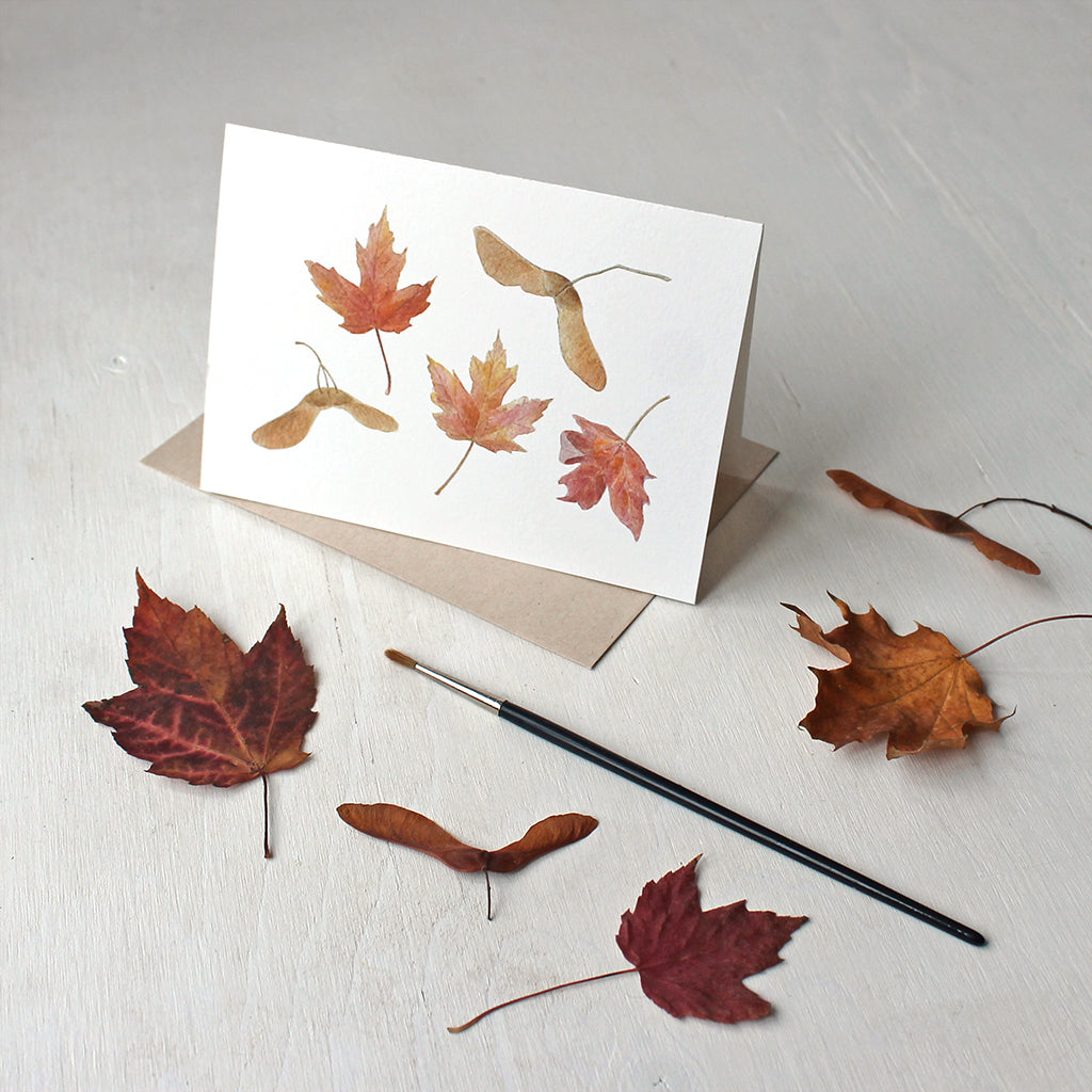 Maple Leaves and Keys (Samaras) Note Cards featuring a watercolor by Kathleen Maunder
