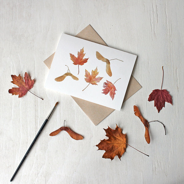Maple leaves and samaras - Note cards featuring a watercolour by Kathleen Maunder
