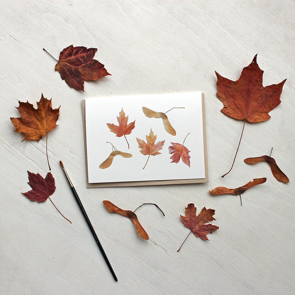 Maple leaves and keys - Note cards featuring a watercolour by Kathleen Maunder