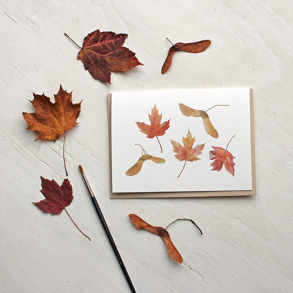 Note cards featuring maple leaves and keys - Watercolor painting by Kathleen Maunder