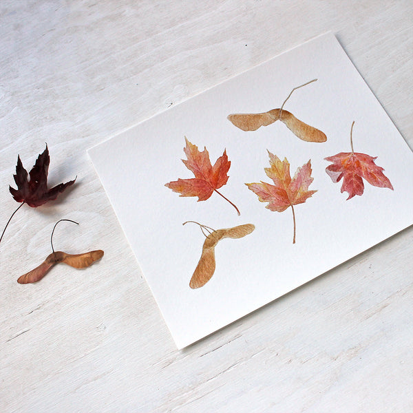 Maples Leaves and Keys - Autumn Print based on a watercolor by Kathleen Maunder