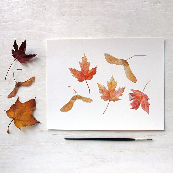 Autumn print featuring a watercolour of maples leaves and keys by Kathleen Maunder