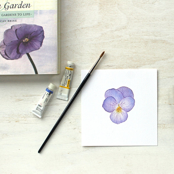 Pansy watercolor painting in print form by Kathleen Maunder of Trowel and Paintbrush