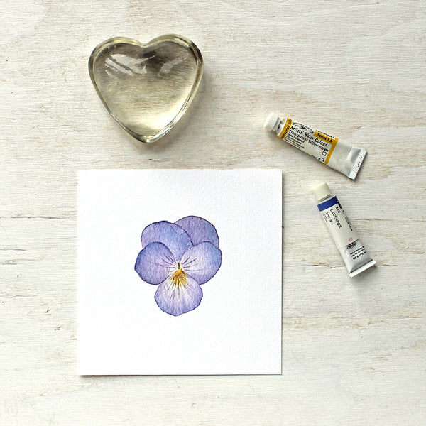 Print of a lavender pansy by watercolor artist Kathleen Maunder, trowelandpaintbrush