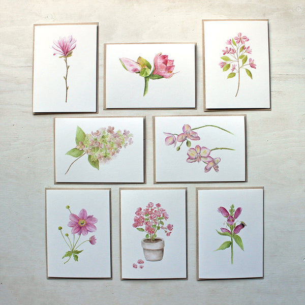 Pink floral note card assortment by watercolour artist Kathleen Maunder. Includes star magnolia, amaryllis, crabapple, hydrangea, orchids, anemone flower, begonia and turtlehead.