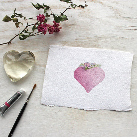 Pink heart watercolor painting printed on handmade paper by Kathleen Maunder