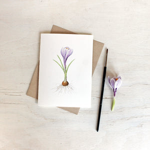 Watercolor painting of striped purple crocus on note card. Artist Kathleen Maunder