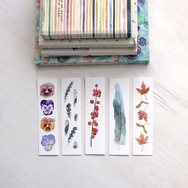Five watercolour bookmarks by artist Kathleen Maunder of Trowel and Paintbrush