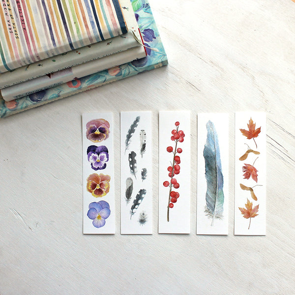 Beautiful bookmarks - Set of five - Watercolor artist Kathleen Maunder