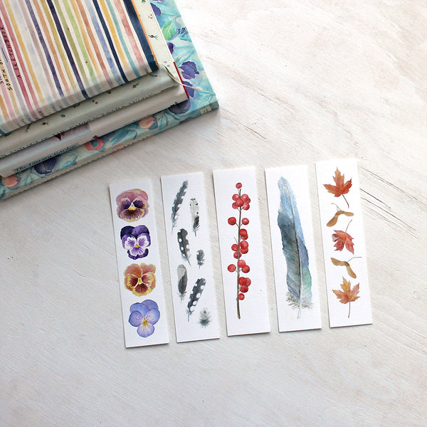 Beautiful bookmarks - Set of five - Watercolour artist Kathleen Maunder
