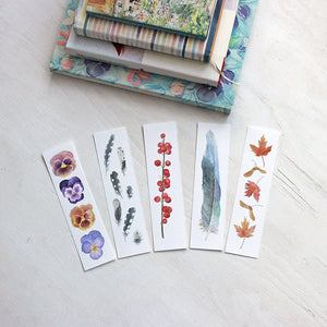 Set of five watercolor bookmarks - Artist Kathleen Maunder