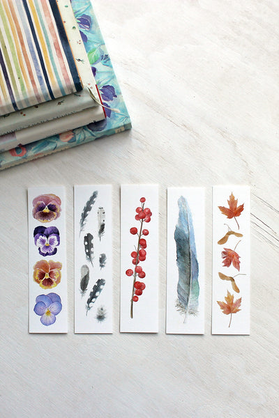 Set of Five Watercolor Bookmarks