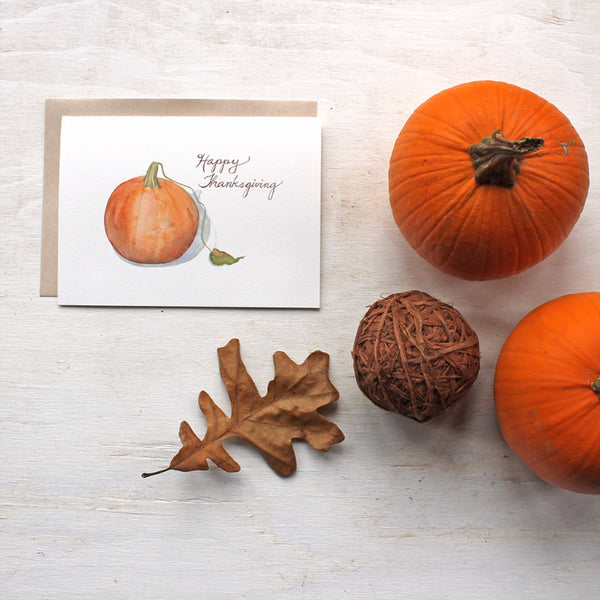 Happy Thanksgiving greeting cards featuring a pumpkin painting by Kathleen Maunder