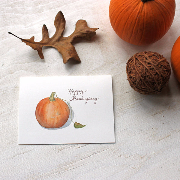 Pumpkin Thanksgiving cards by watercolor artist Kathleen Maunder