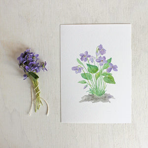 Art print featuring a wood violets watercolor by artist Kathleen Maunder