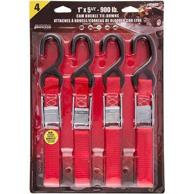 "Erickson Tie Down & Tow Straps - 1"" x 5.5' Cam Buckle - 4 Pack - [3920-0402] - VMC Chinese Parts"