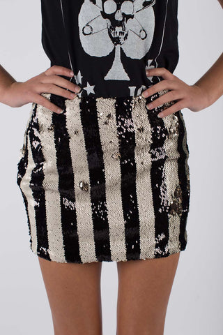 Any Old Iron Stripped Sequin Skirt