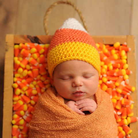 White, Orange, and Yellow Crochet Candy Corn Shape Baby Hat