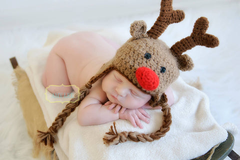 Crochet Rudolph the Red Nose Reindeer hat, Baby Christmas Hat, Newborn Photo Prop, Holiday hat