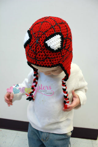 Spiderman Crochet Hat Earflap Beanie  - Baby, Toddler, Child - Character, Super Hero, Boy, Costume