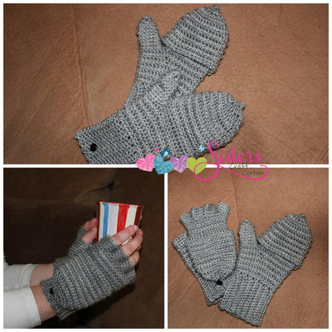 Convertible Mittens - Convertible Gloves - Fingerless Gloves - Unisex Mittens - Unisex Gloves - Crochet Fingerless Gloves - Custom Mittens