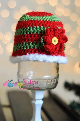 Crochet Christmas Hat - Poinsettia Hat - Red Green Striped Beanie - Baby Christmas Hat - Holiday Hat - Winter Hat - Newborn Photo Prop