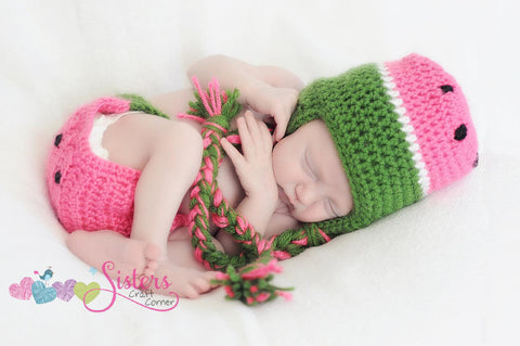 Crochet Baby Watermelon hat and diaper cover, newborn pictures prop,summer time fun