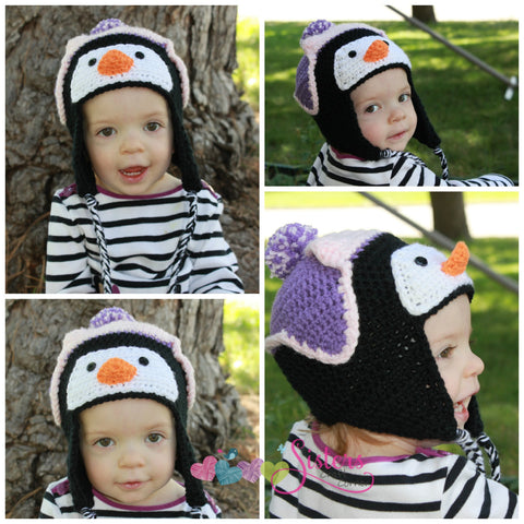 Crochet Penguin Hat - Animal Hat -  Newborn Photo Prop - Baby Penguin Hat - Child Penguin Hat - Winter Hat