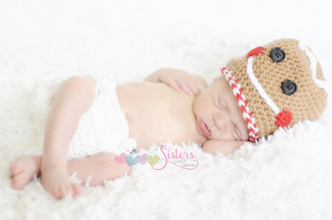 Crochet Gingerbread Man Hat - Christmas Hat - Gingerbread Cookie Hat - Holiday Hat - Newborn Photo Prop - Baby shower gift - Winter Hat