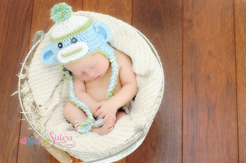 Crochet Baby Boy Sock Monkey Hat - Newborn Photo Prop -