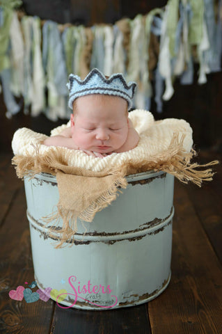 Crochet Prince Crown - Newborn Baby Boy Crown - Newborn Photo Prop - Baby King Crown