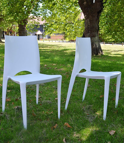 2 x White Cafe Restaurant Stacking Garden Chairs
