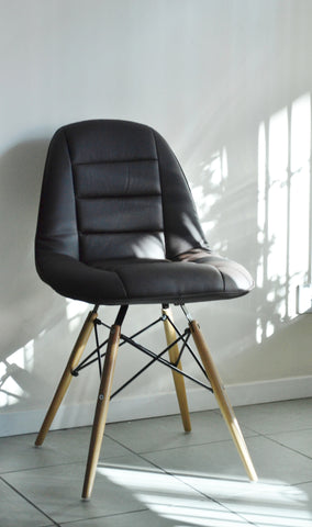 Brown PU  chair with wooden leg
